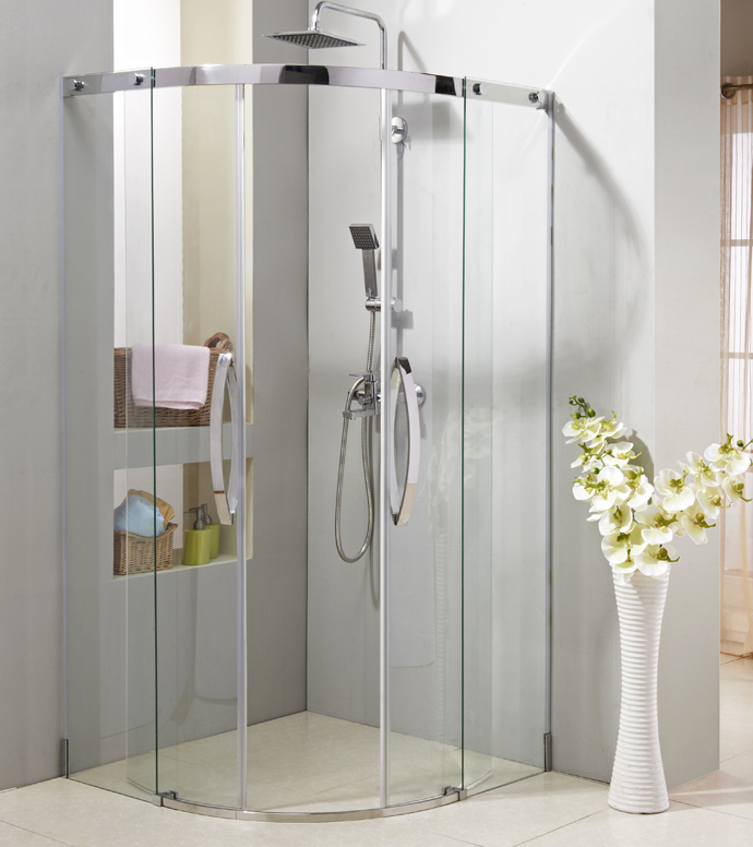 Sector sliding shower door with stainless steel #304 frame,S.S.#304 handle