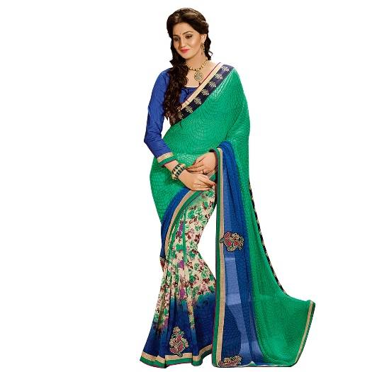 Shonaya Green & Blue Colour Georgette Embroidered Sarees With Blouse Piece