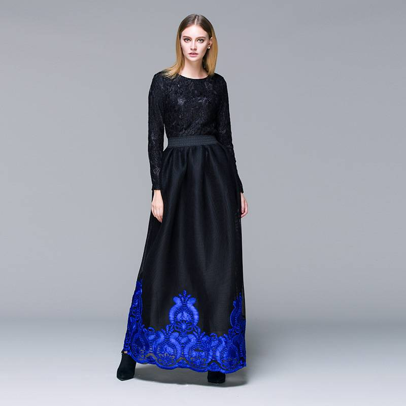 New Arrival Elegant Long Sleeve Ruffle Beaded Navy Blue Floor-length Evening Gown