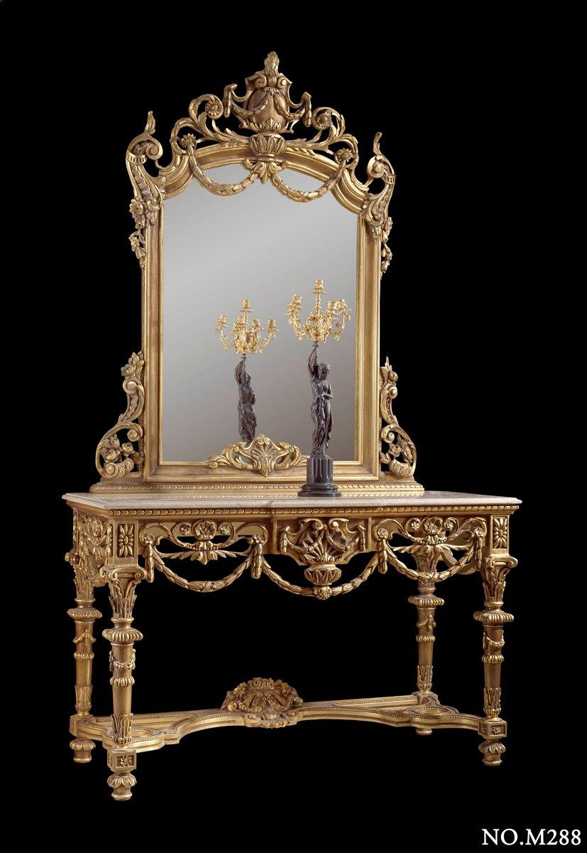 Italian Neoclassical carved giltwood console with mirror, late 18th century baroque style