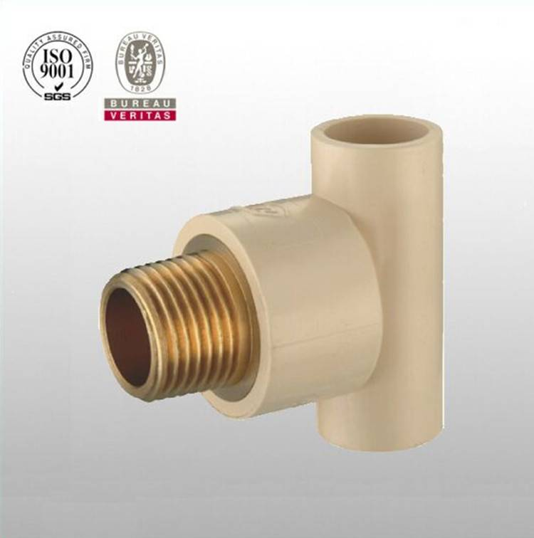 HJ brand CPVC ASTM D2846 pipe fitting male tee with brass
