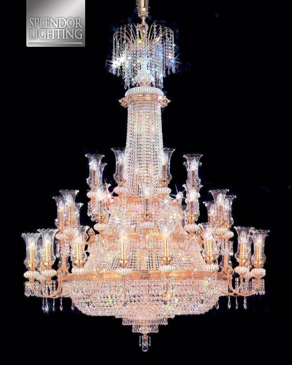 8.3Ft Long Gold Plated Entrance Chandelier with Lead Crystals