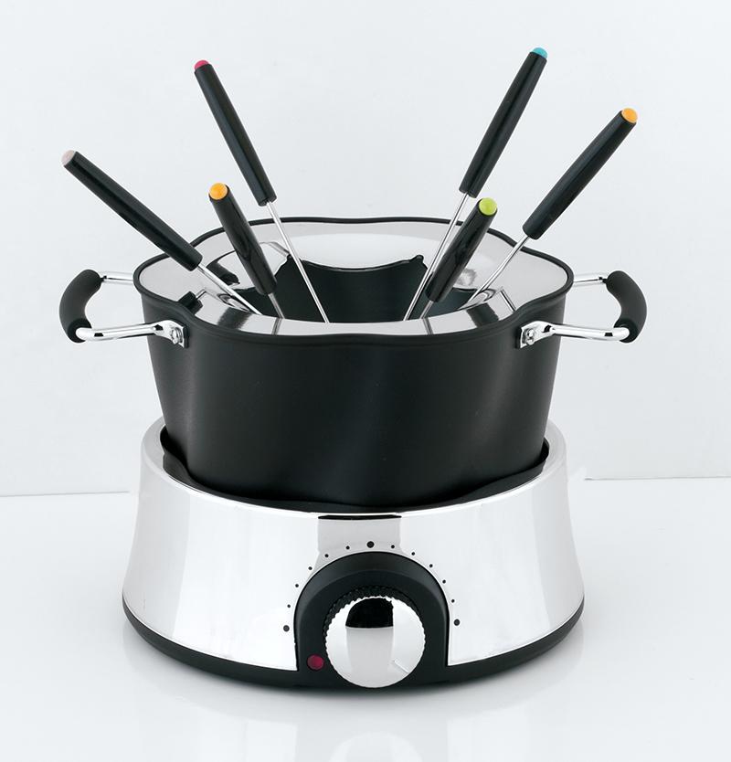 electric fondue stainless steel set, stainless steel fondue maker