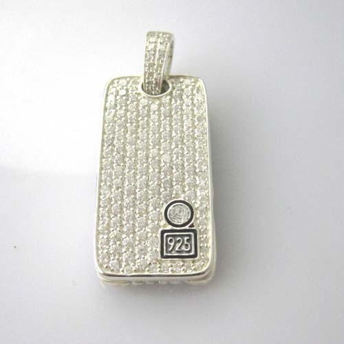 Sterling Silver Jewelry Pave Clear CZ Diamonds Dog Tag (M-015)