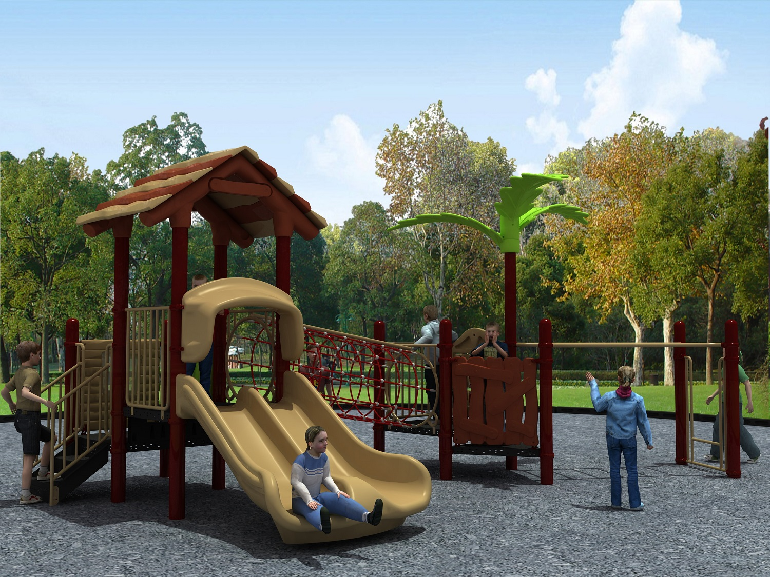 TUV009 Best Outdoor Playground Equipment Forest Series, Double Slide-Wande Play