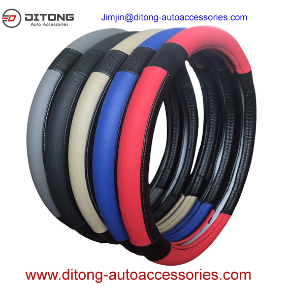 PU mesh material car steering wheel covers with carbon grip