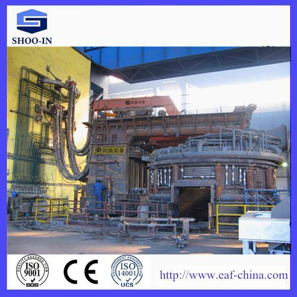 Steelmaking high impedance electric arc furnace