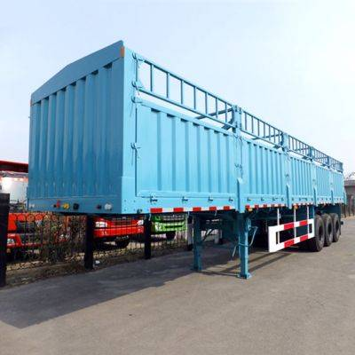 Interlikn livestock Cargo fence truck trailer , 3 axle Fence semi Trailer for sale