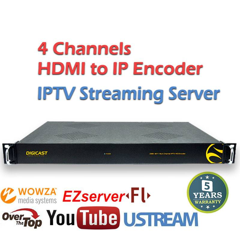 HDMI CVBS to IP Encoder h.264 8 Channels IPTV Streaming for WOWZA FMS
