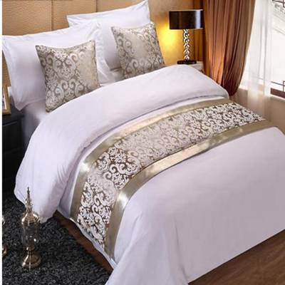 RAYUAN Champagne Floral Bedspreads Bed Runner Throw Bedding Single Queen King Bed Cover Towel Home H