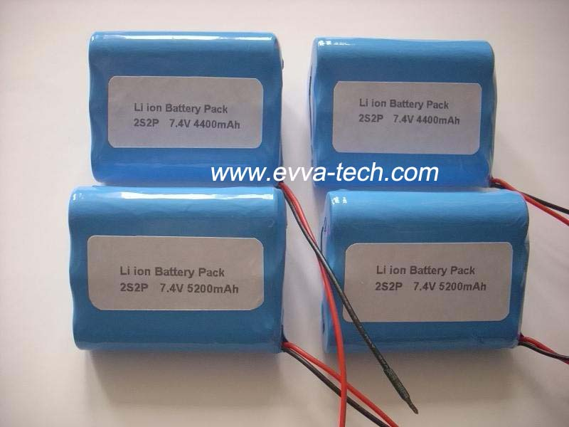 Battery Pack with 18650 7.4V 5200mAh 2S2P