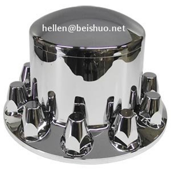 Chrome Semi Truck Rear Axle Hub & Lug Nut Covers 33mm Lug Nuts