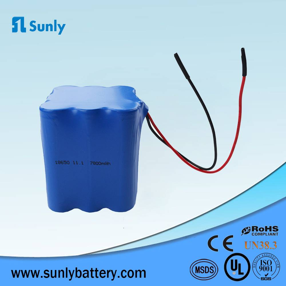 18650 li ion battery 11.1V 7800mAh lithium ion battery for LED Lights
