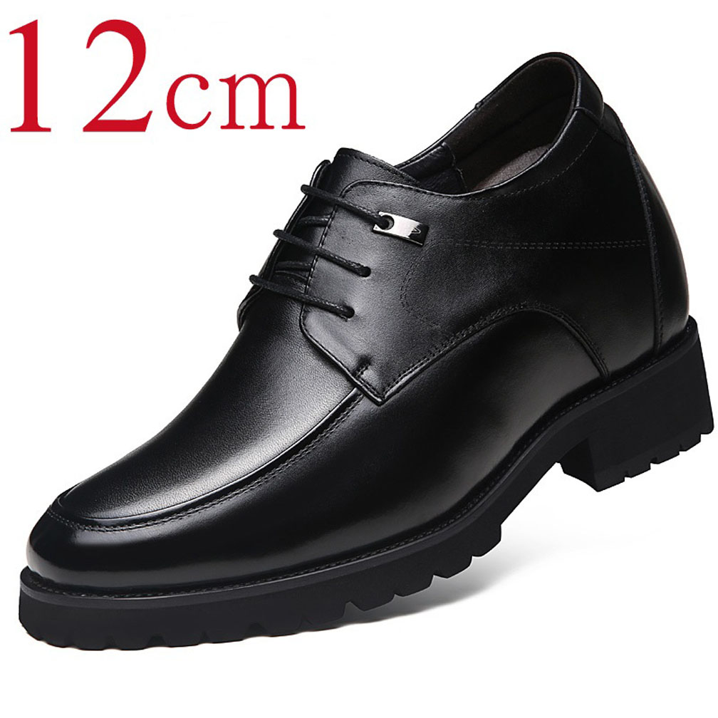 Calf Leather Invisible Height Increasing Elevator Dress Formal Wedding Shoes 4.7 Inch for Man