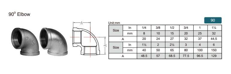 China malleable iron pipe fitting Elbow-90 with high quality and proper price