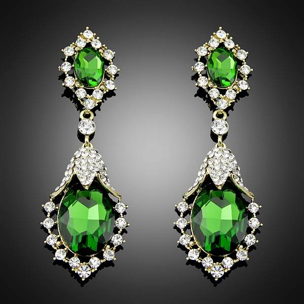 2014 Europe brand Trend Crystal fashion statement green Earrings for women jewelry Bc017