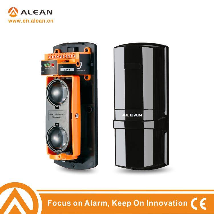 Active beams infrared laser security fence detector