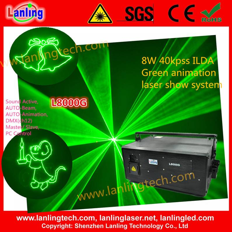 8W Green Animation laser logo projector stage disco Light