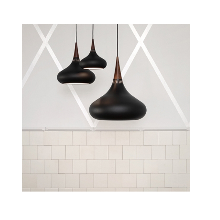 CE Hot sale Hanging pendant lamps celling lighting metal and wood shade E26 copper/black