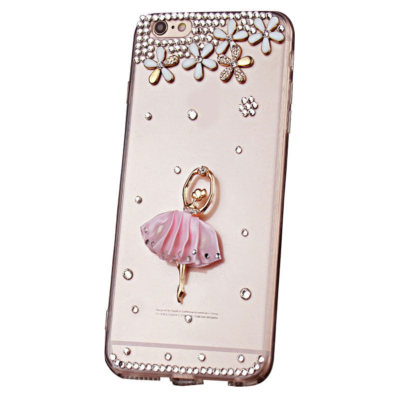 Best Rhinestone Girl Case for iPhone x 10 TPU 6s/7/8Plus and Samsung Xiaomi Huawei