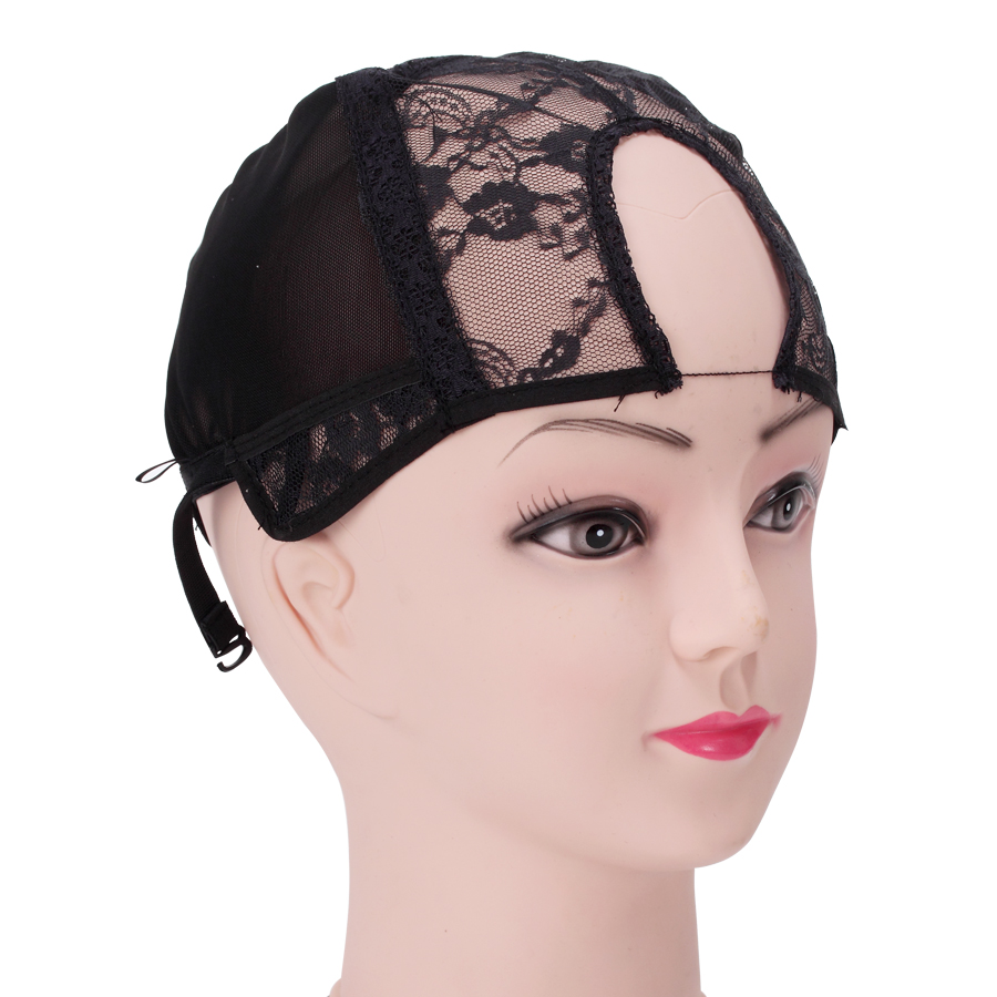 U Part Glueless Lace Wig Cap For Making Wigs With Adjustable Straps Weaving Caps