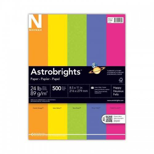 500 Reams Neenah Astrobrights Premium Color Paper Assortment 8.5 x 11 Inches 500 Sheets per ream