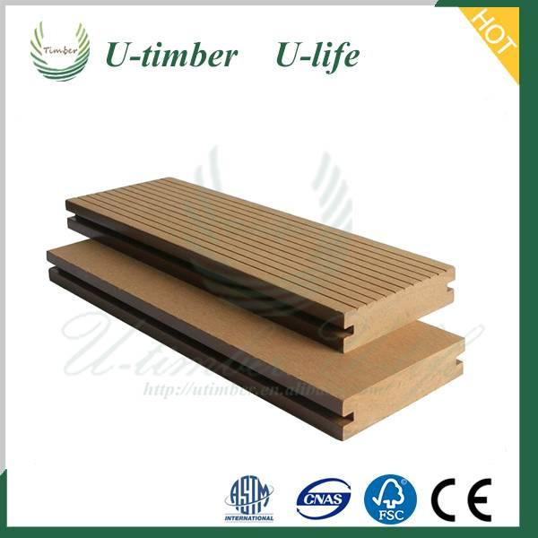 Elegant appearance wood plastic WPC solid outdoor wood floor