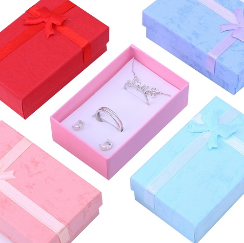 Wholesale Pink Cardboard Necklace Ring Stud Earring Box Packaging Jewelry With Ribbon