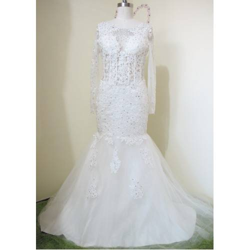 WEDDING DRESS SATIN&LACE TRUMPET/MERMAID LONG SLEEVES WITH ZIPPER-BACK AND CHAPER TRAIN W6002