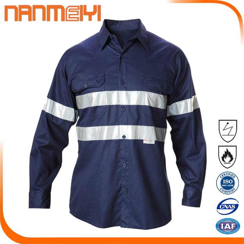 Navy Blue Enhanced High Visibility Industrial Short / Long Sleeve Work Shirt