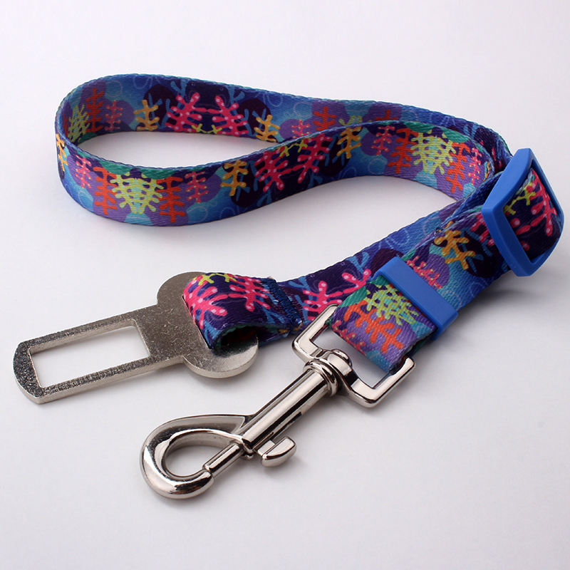 2018 personalized custom new style sublimation polyester car safety dog leash factory sell