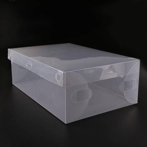 Transparent Clear Plastic Shoe Boxes Stackable Foldable Organizer Box Bulk PVC