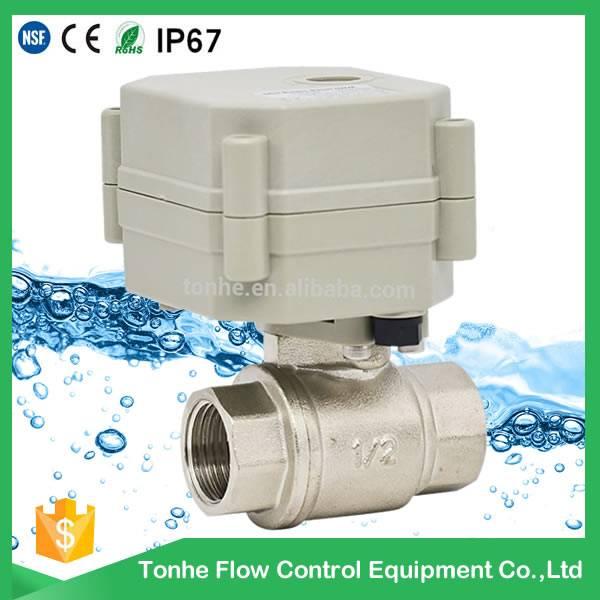 2016 OEM ODM DN15 Nickel plated Brass electric water shut off valve DC5V/12V/24V