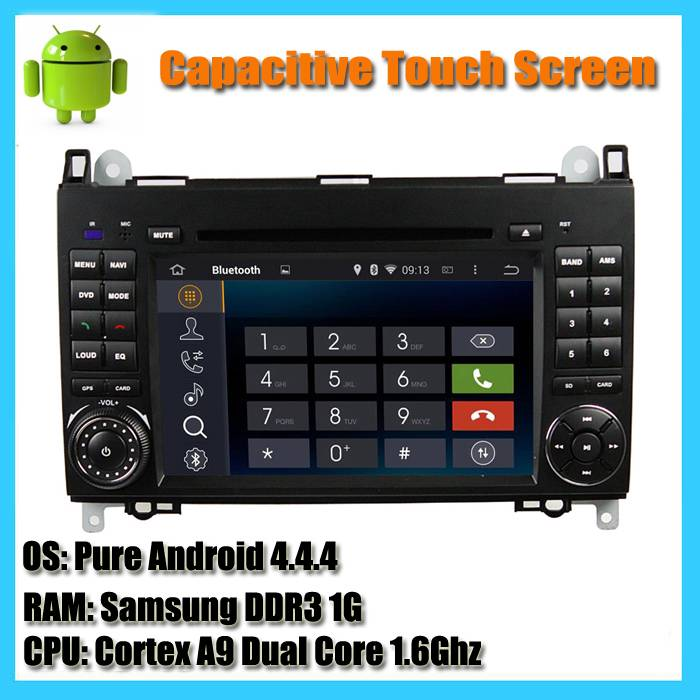 Capacitive touch screen android 4.44 dual core 1.6Ghz car radio dvd player for Mercedes Benz A B Cla