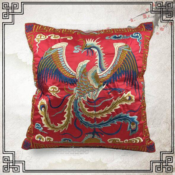 Phoenix Embroidery Cushion Cover