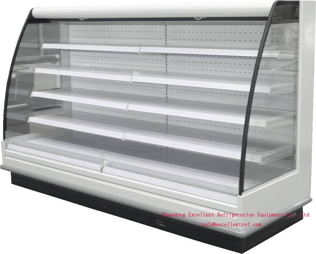 refrigerated multideck display cabinet used in supermarket