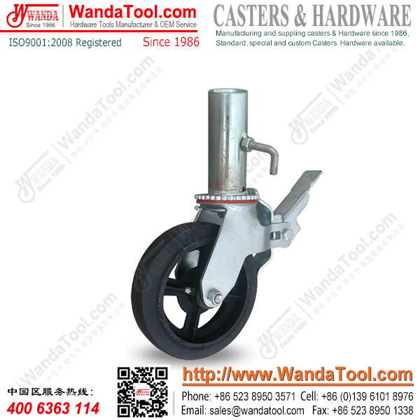 8 In. Tube stem Scaffolding Caster with Moldon rubbehr wheel