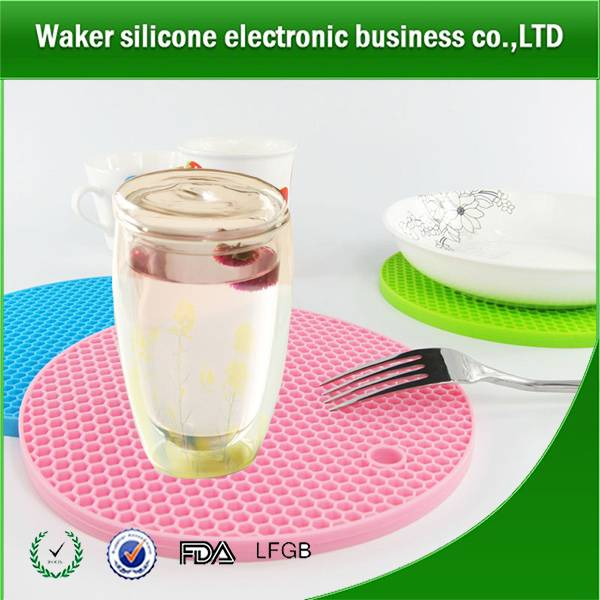 Round shape food grade silicone cup mat