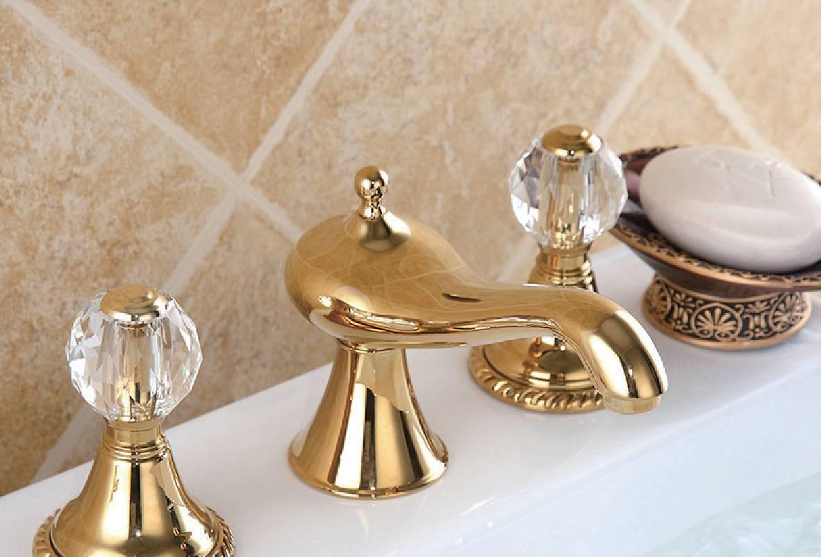antique golden 3 hole single mixer wash basin faucet