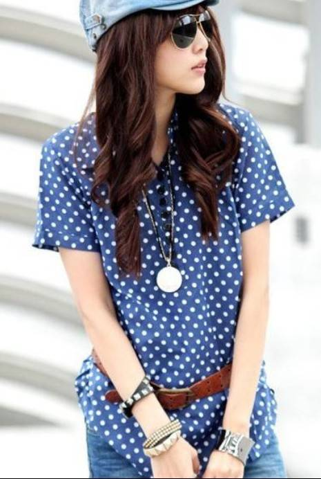 Korea Trendy Style Cotton Shirt With Belt