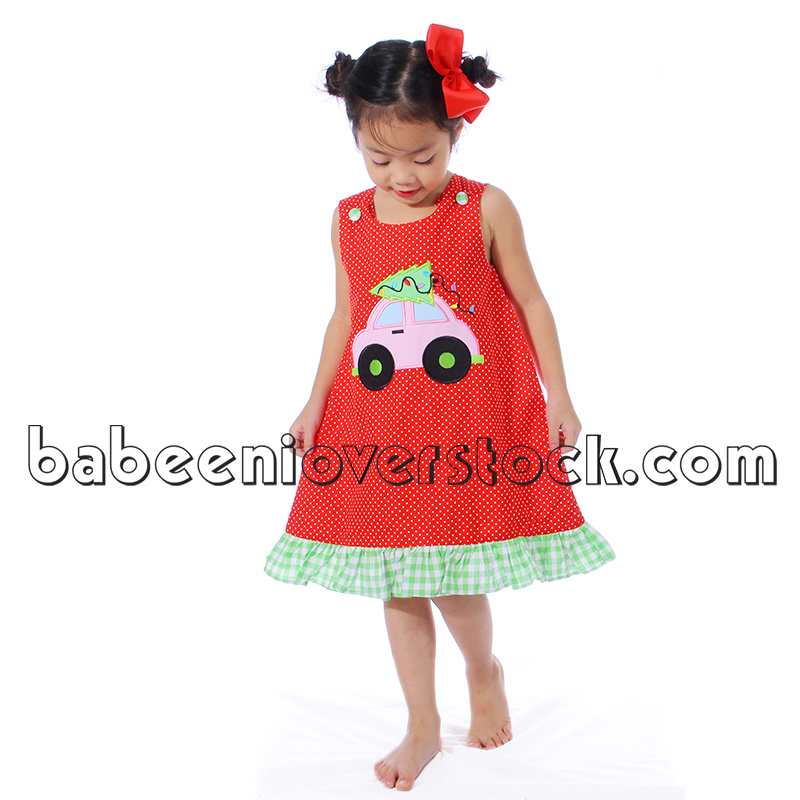 Cute X-mas tree car appliqued girl A-line dress - BB837