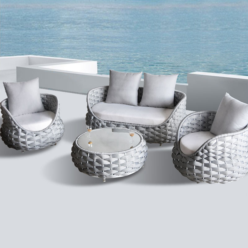 Circle designed european style 4 pcs balcony polyester fibre weave outdoor sofa set
