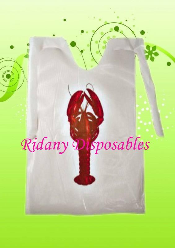 Disposable Printed Lobstered Polyethylene Apron, Plastic Apron,PE Apron Bibs