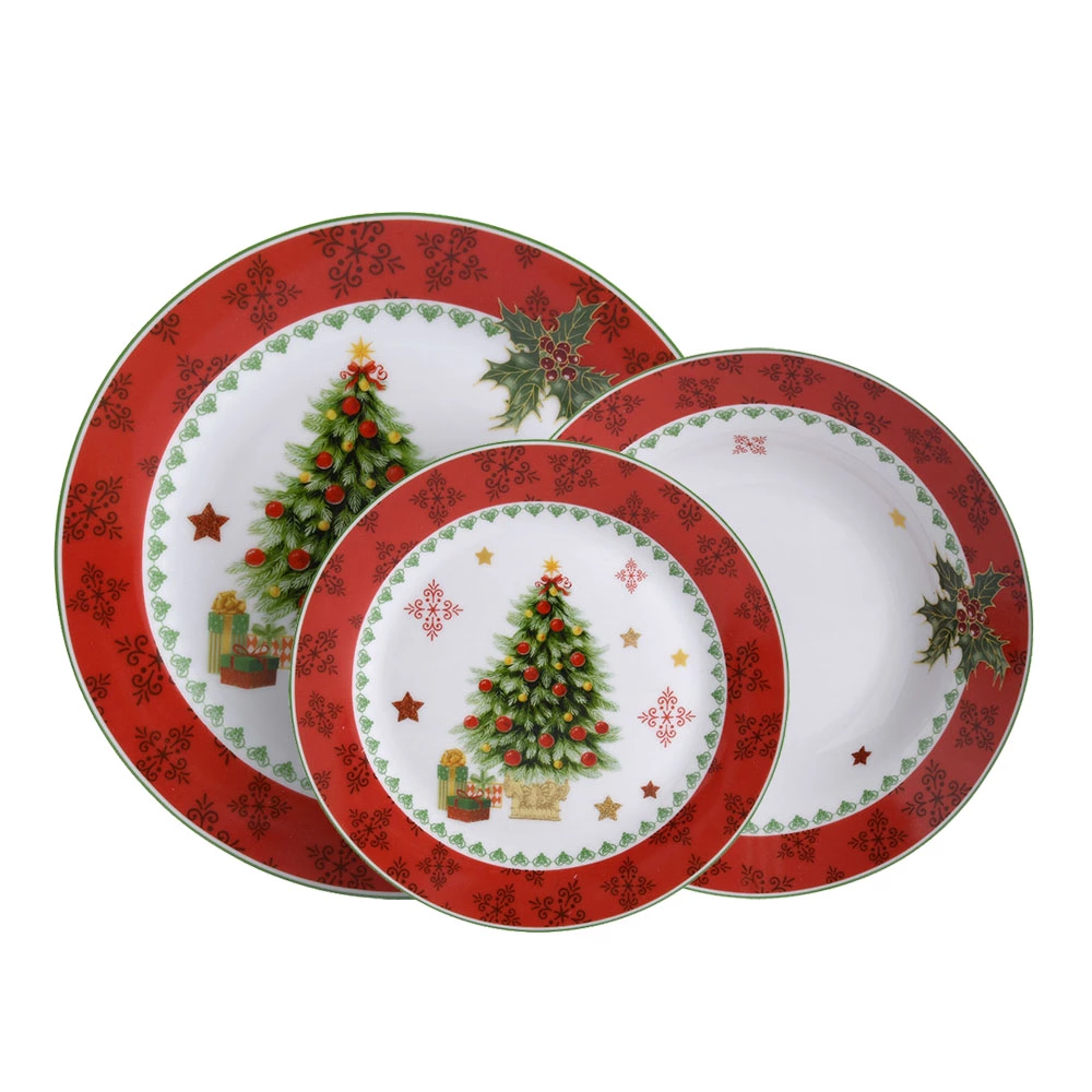 Custom Design Decorative Christmas Ceramic Plate Decoration Porcelain Dinnerware