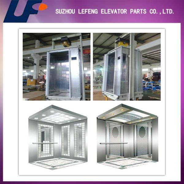 Stainless Steel Hairline/Etching Mirror elevator cabin for passenger lift