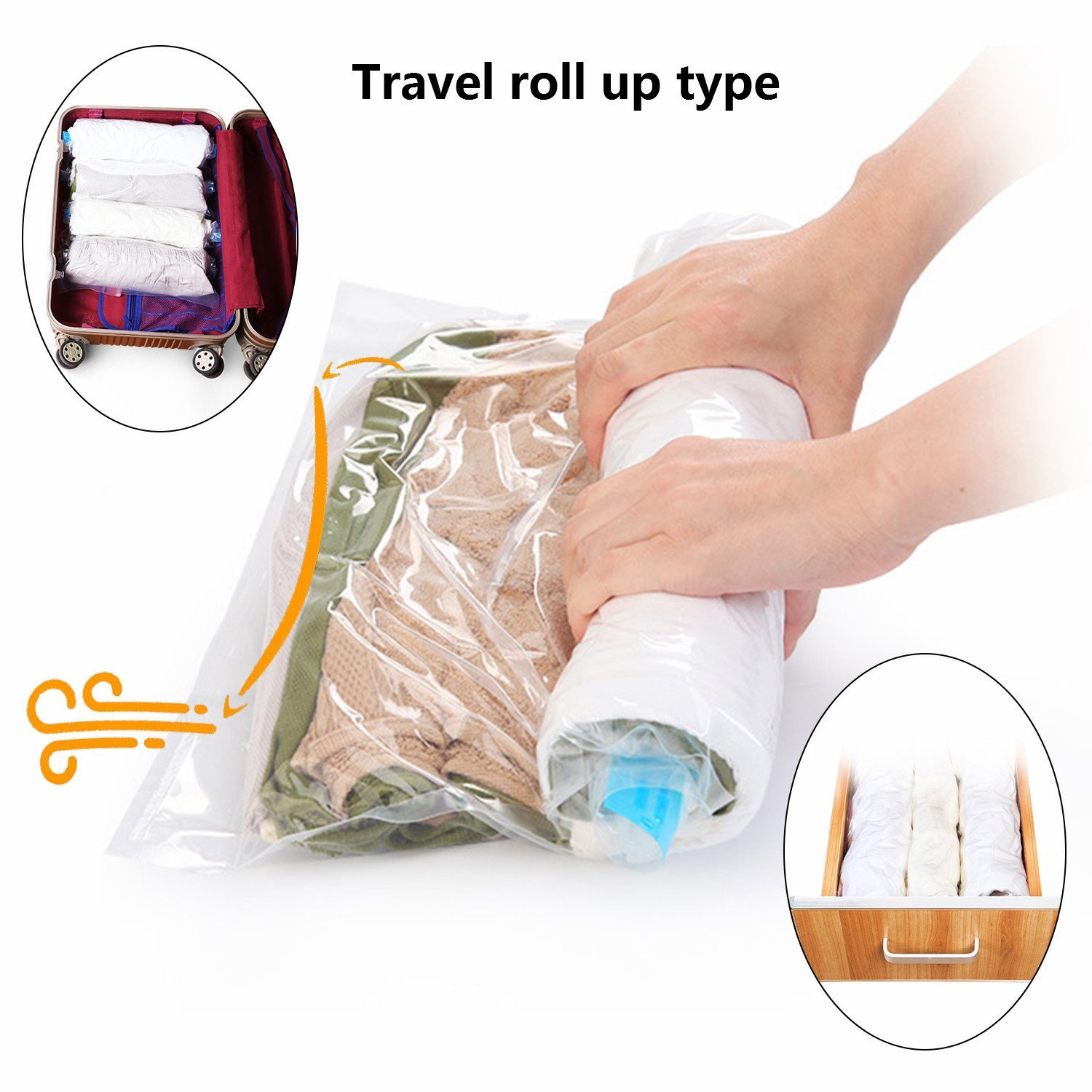 Rollable up space saver bag