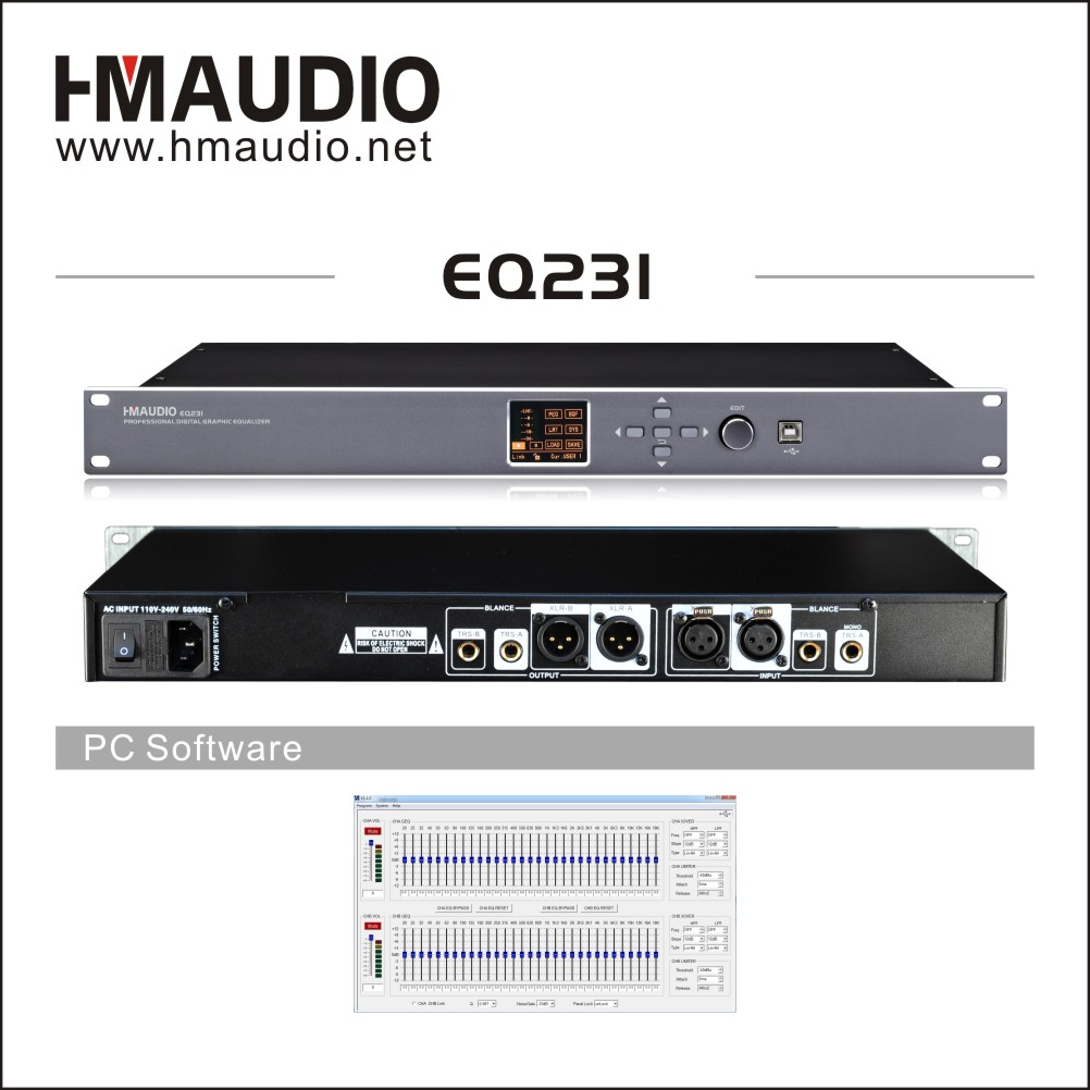 Professional digital equalizer with 31 bands GEQ use for conference room EQ231
