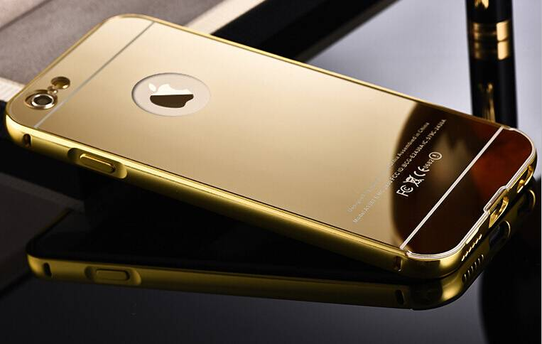 New luxury 24K Gold Electroplating Aerospace Aluminum Ultra-thin Acrylic mirror Metal cellphone case