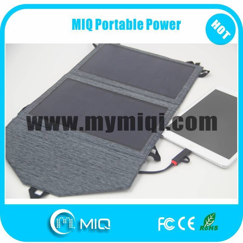 MIQ high efficiency flexible folding solar panels USB charger 12W
