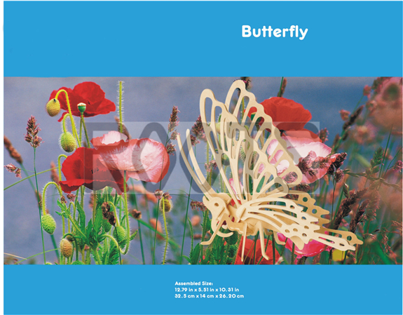 Butterfly-3D wooden puzzles, wooden construction kit,3d wooden models, 3d puzzle